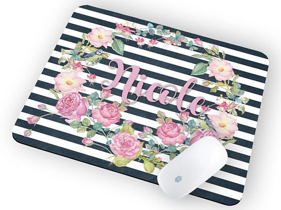 Mouse Pad with Name Mouse pad floral Mouse pad personalized