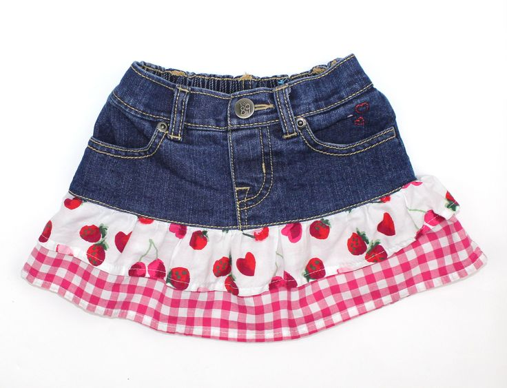 Toddler Girls Denim Skirt by Children's Place with Gingham and Cherry Ruffles in Size 12-18 Months and Only $4.75 May Bug Treasures online Resale