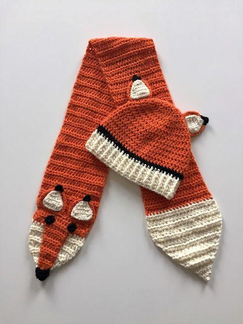 Liten Plutt - crochet fox hat and scarf
