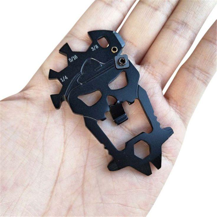 Stainless Steel EDC Pocket Multi-tool Screwdriver Crowbar Titanium Skull Keychain Llaveros Skeleton Bottle Opener Screwdrivers #Affiliate