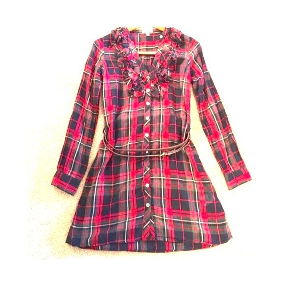 Joie dress Plaid Tunic. Has long sleeves, above the knee length dress by Joie. Comes with leather brown belt to accessorize. Ruffle shoulder & Front buttons. Need sewing/stitchings(4th photo.) Joie Dresses