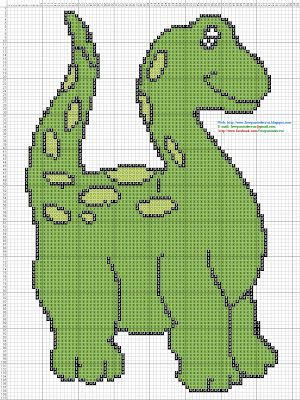 Dibujos Punto de Cruz Gratis: Dinosaurio - Punto de cruz