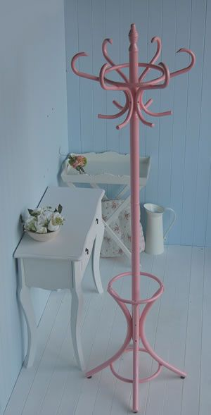 Pink wooden coat stand. Bentwood traditional hat and coat Stands from The White Lighthouse