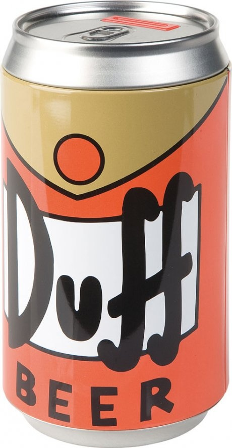 The Simpsons' Duff Beer Coin Bank. FYI, you can buy actual Duff Beer in Argentina!