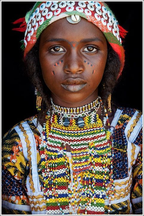 Africa | Portrait of a Hausa Fulani girl with facial decoration, south-eastern Niger | ©John Kenny