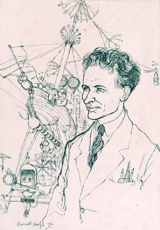 A great drawing of Rowland Emett at the Festival of Britain drawn by his fellow PUNCH artist Ronald Searle.