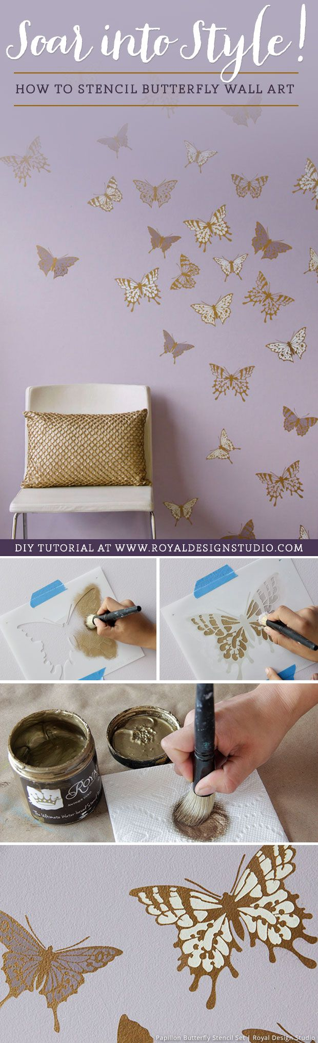 25 unique butterfly stencil ideas on pinterest felt butterfly how to stencil tutorial butterfly wall art for cute girls room decor amipublicfo Image collections
