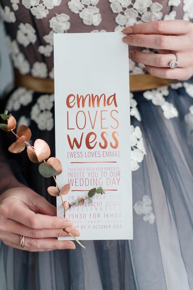 Romantic Copper Metallic  Wedding Stationery and Invitation Ideas : The stunning copper, metallic brush-lettered wedding stationery suite was created by the ever talented Pretty in Stains.  http://www.confettidaydreams.com/copper-metallic-and-blush-wedding-ideas/