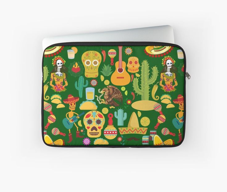 Fiesta Time! Mexican Icons Laptop Sleeve by #Gravityx9 at #Redbubble ~ #VivaMexico! Fun illustrations of sombreros, tacos, calaveras, maracas and more! This design is available on tee shirts, home decor, tote bags and more! ~ #CincoDeMayo #Mexicantheme