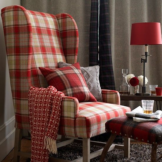 Country living room with tartan armchair