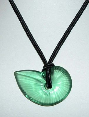 Authentic Baccarat Crystal Light Green Nautilus Shell