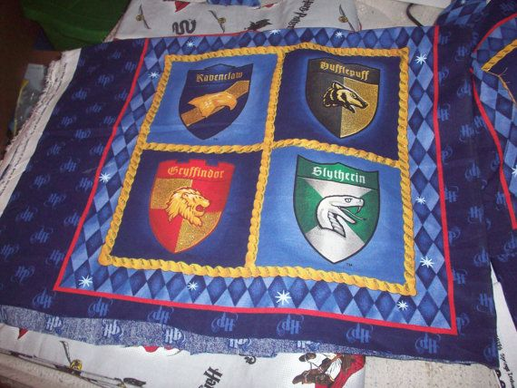 Last Large 4 Shields Harry Potter Fabric Hogwarts House
