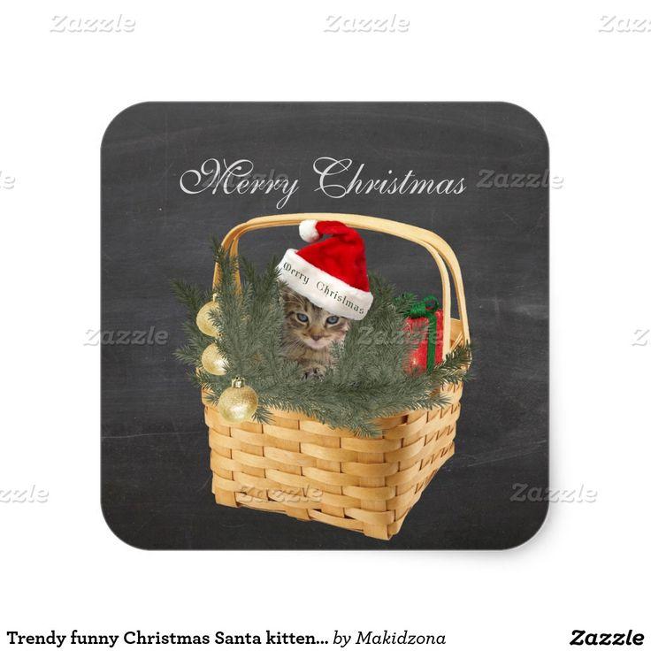 Trendy funny Christmas Santa kitten in the basket Square Sticker