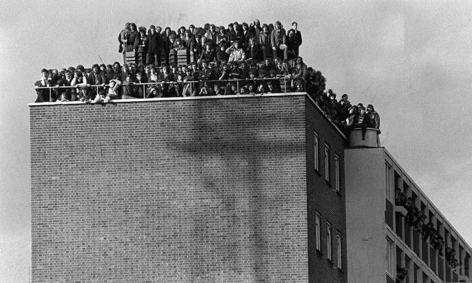 West Ham fans watch Hereford in the FA Cup fourth round replay at Upton Park, 1972