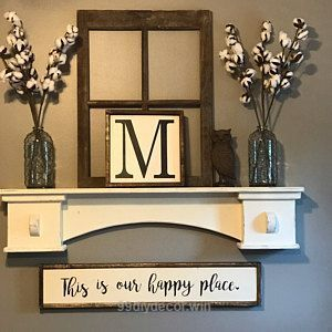 Great This Is Our Happy Place Sign Farmhouse Sign Farmhouse, rustic sign, diy sign, home decor, diy home decor, diy decor, modern, rustic, vaulted ceiling, eall art, brick walls, indoor, outdoor, farmhouse, kitchen, living room, mantle, shelf, letter art, vases  The post ..