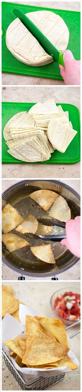 How to make homemade tortilla chips at home from chefsavvy.com #tortilla #chips