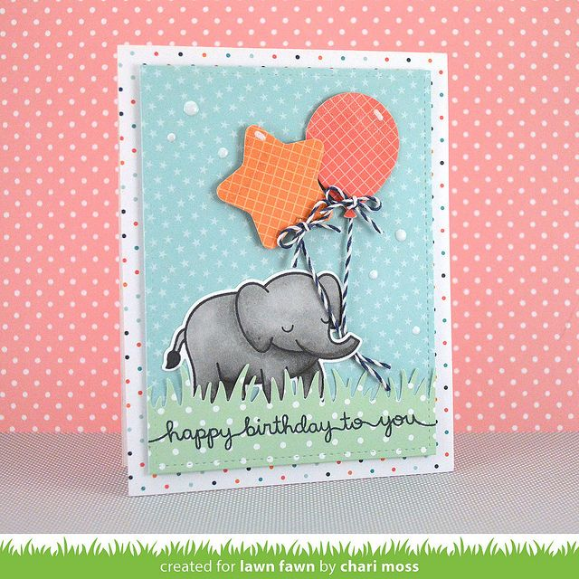 Lawn Fawn Birthday card (using Party Balloons,Scripty Sayings & Critters In The Jungle) by Chari Moss.