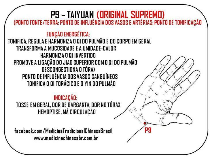 P9 Localização: na prega de flexão de punho, no lado radial. Puntura: 0,2-0,3 tsun perpendicular; evitar artéria radial.