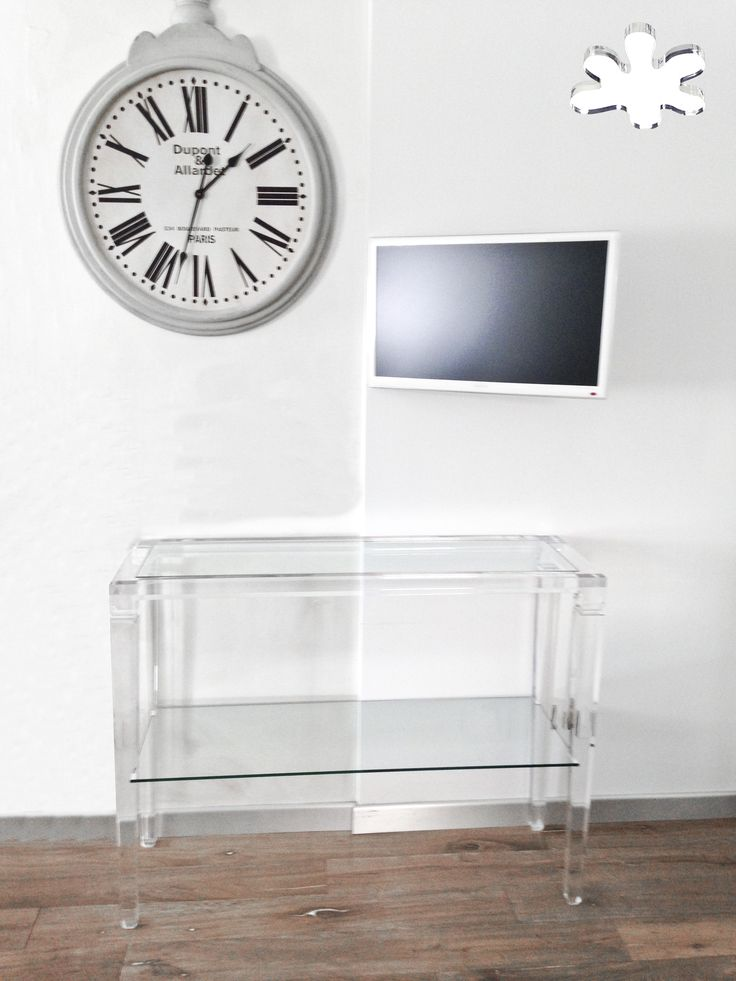 Acrylic console table lucite - Acrylic furniture - CONSOLLE IN PLEXIGLAS | Consolle in plexiglas 01.mod. LV1 con ripiano   | Consolle plexiglass cm.120 x 40 h.90 - telaio sp.mm.40 - gamba sez.mm.60 - ripiano inferiore in vetro sp.mm.8 #lucite #design #homedecor #acrylic