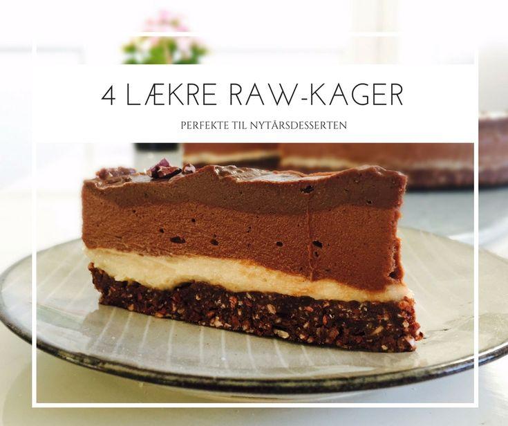 4 lækre raw kager, der egner sig godt til nytårsdessert. Opskrifter her: