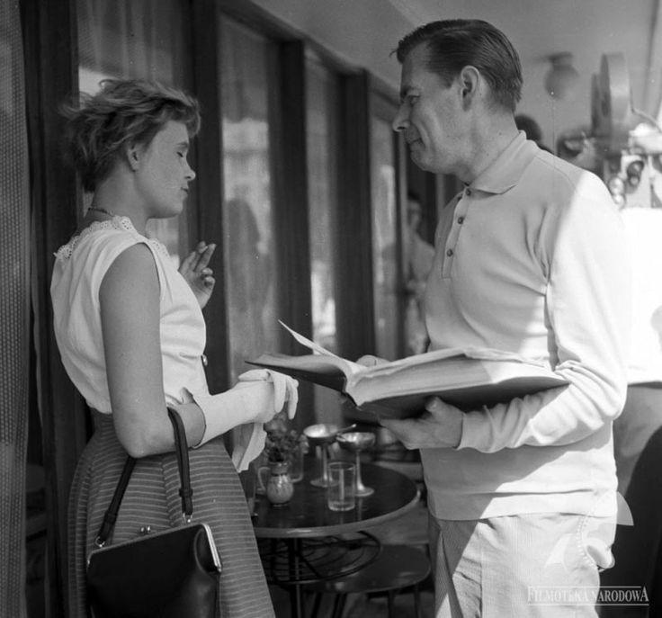 """Joanna Chmielewska na planie filmu """"Lekarstwo na miłość"""" na podstawie powieści """"Klin"""" Joanny Chmielewskiej, reżyseria: Jan Batory, 1966."""