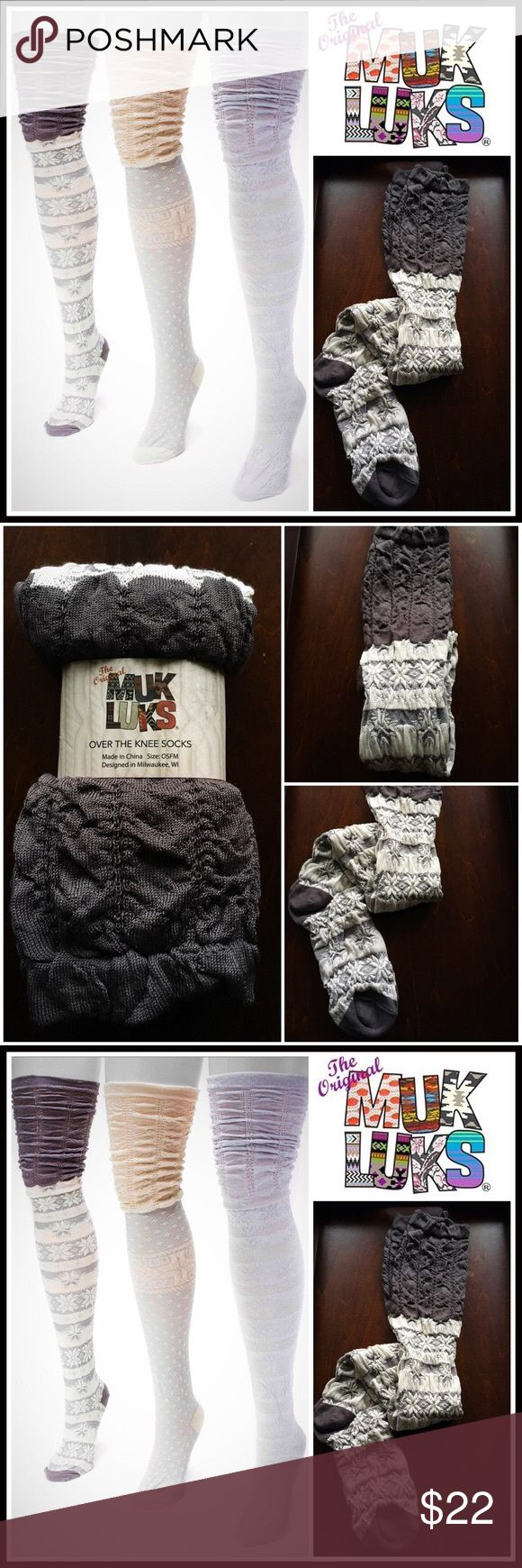 """MUK LUKS BOOT SOCKS Tall Over the Knee Socks 💟NEW WITH TAGS💟   MUK LUKS BOOT SOCKS Tall Over the Knee Thigh Highs   * Super soft, high quality textured & embroidered fabric   * Stretch-to-fit construction w/crochet lace ruffle & ribbed cuffs   * Over the knee length & thigh high   * One size fits most, sock sizes 9-11   * Stay up elasticize cuff style   * Approx 25"""" long   FABRIC-Microfiber, nylon, 3% spandex; Machine wash cold  COLOR-Charcoal, ivory, Heather grey   ❌NO TRADES❌ ✅BUNDLE…"""