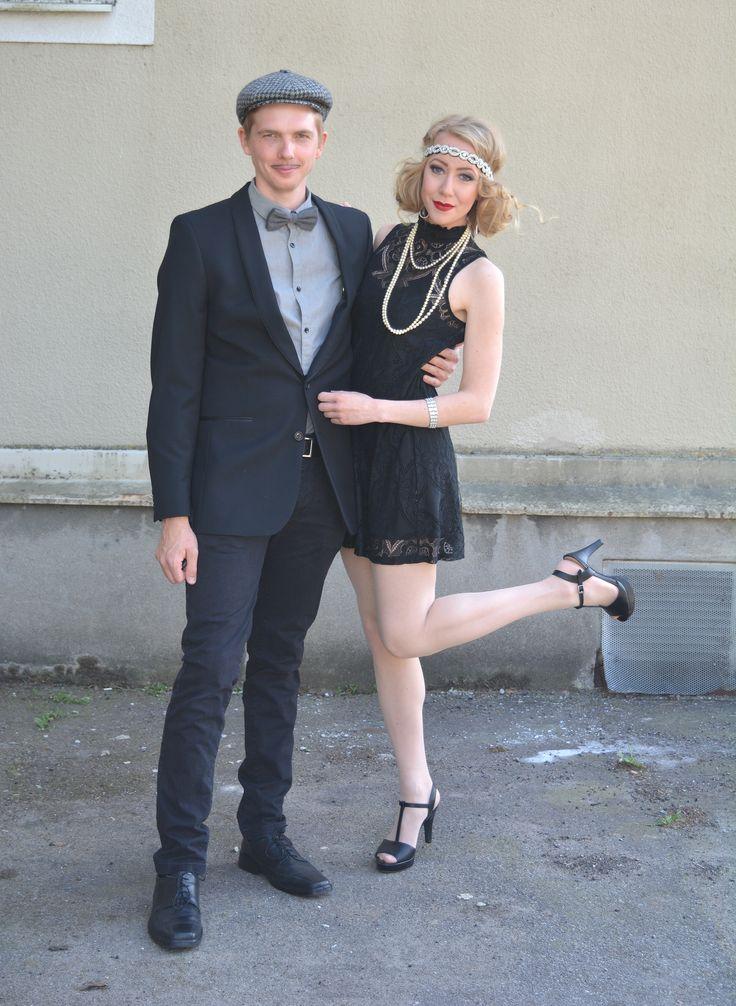 1920's vibe. Costume. Headband, pearls, pumps, lace, dress, suit, hat, copule's costume.