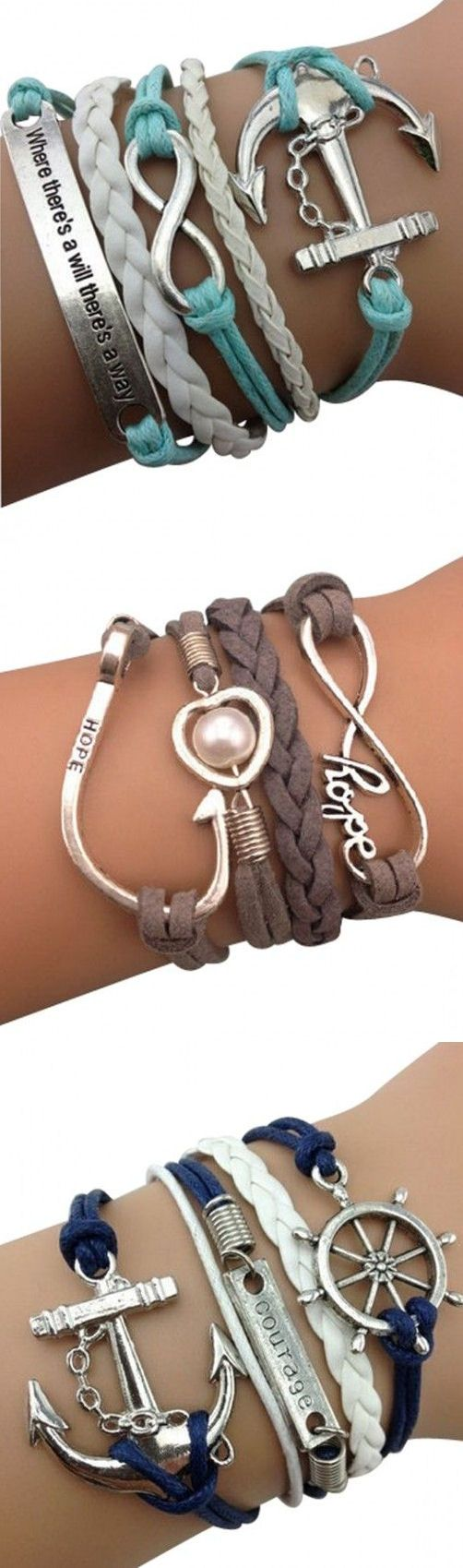 Nautical Anchor Arm Party Bracelets ♥ L.O.V.E.,diy bracelet from Costwe.com