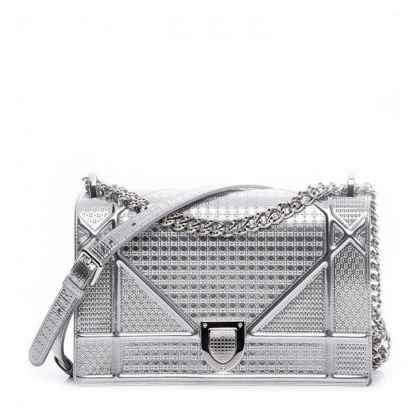CHRISTIAN DIOR Metallic Calfskin Micro-Cannage Medium Diorama Flap Bag... ❤  liked 67043386e0a6