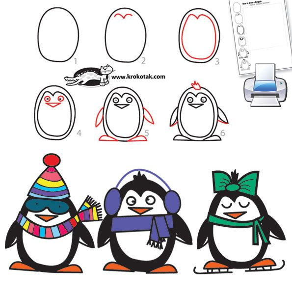 How To Draw Penguins Cute Things Simple Drawings