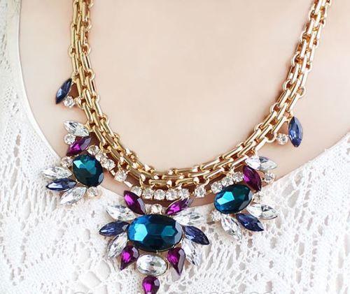 Beautiful Rhinestone Chunky Fashion Necklace, AU$10.95