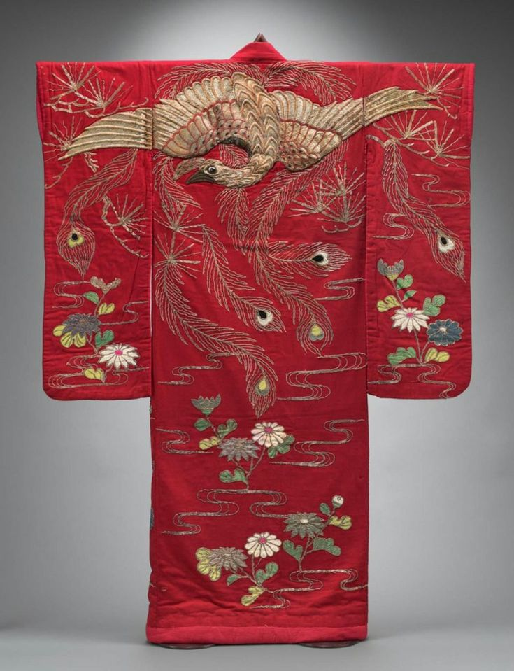 KABUKI COSTUME Kabuki costume Japanese, Meiji era, late 19th or early 20th centuries DIMENSIONS:  Center back: 182.9 cm (72 in.) MEDIUM OR TECHNIQUE:  Wool plain weave embroidered with metallic thread and appliqued with wool and cotton plain weave, plastic
