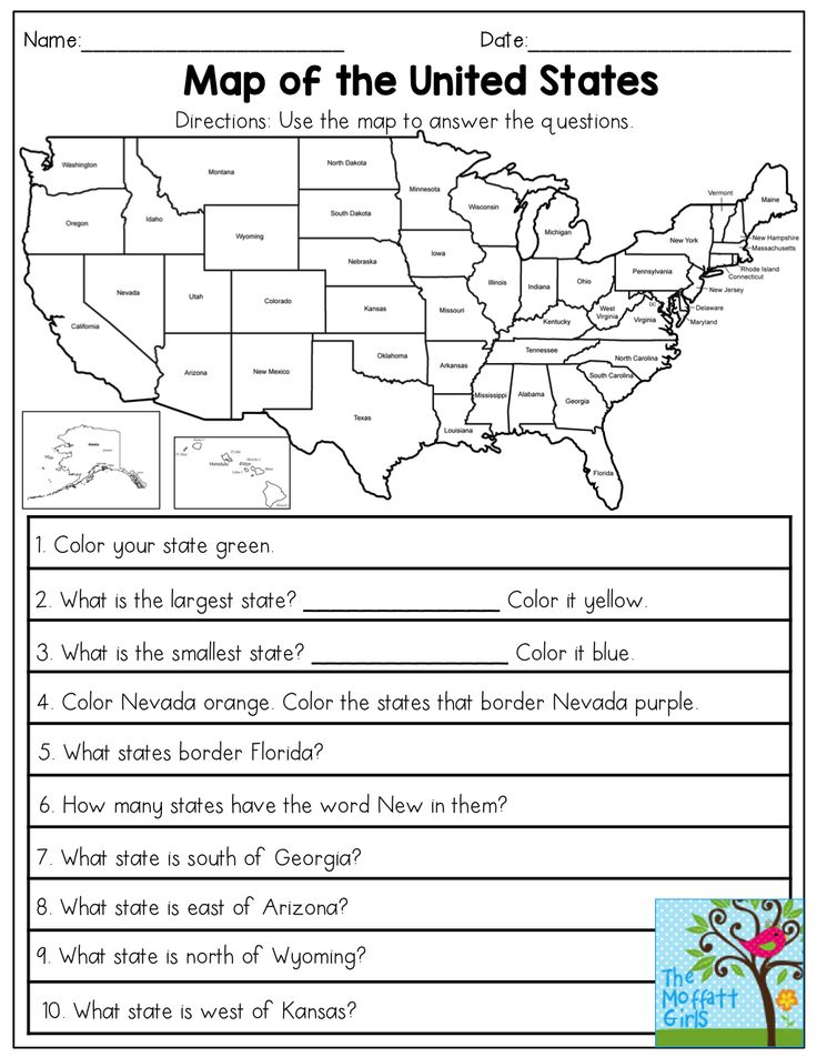 Map of the United States- answer the questions.  This November NO PREP Packet for 3rd Grade is FILLED with hands-on, engaging and FUN resources that cover core skills for 3rd Grade!