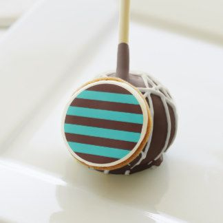 Delicious Chocolate brown and aqua striped designed cake pops