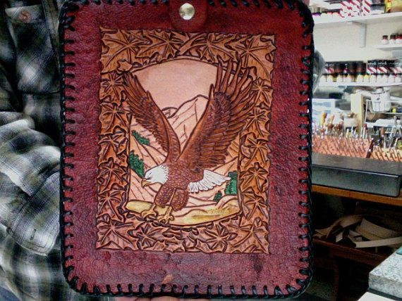 I Pad Case / Leather / Hand  Carved and Tooled / Celtic /  Custom / Hand Made / Eagle / I Pad Cover