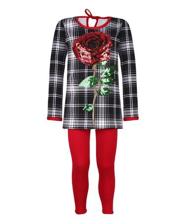 Look what I found on #zulily! Black & White Plaid Rose Tunic & Red Leggings - Toddler & Girls #zulilyfinds