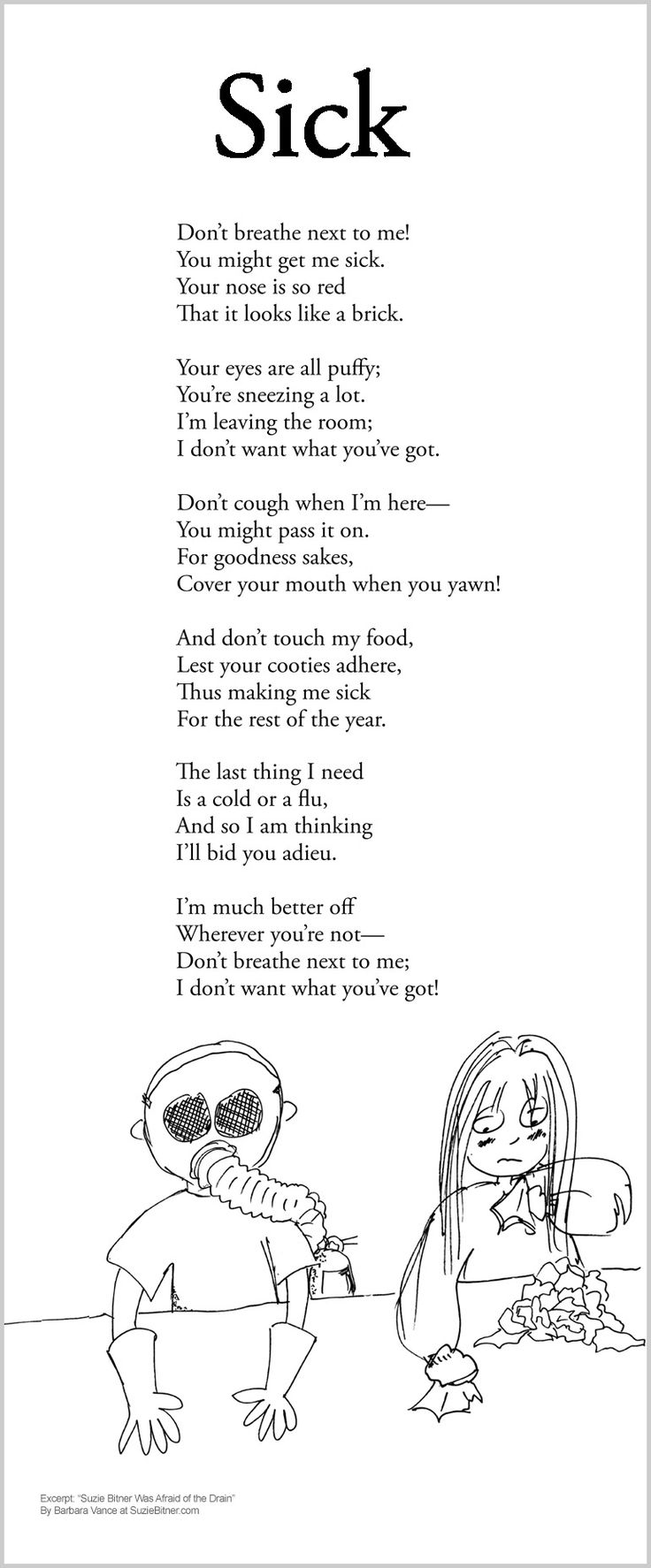 Funny children's Poem about health and getting sick. Great for school and classroom activities. common core  1st grade,  2nd grade,  3rd grade reading