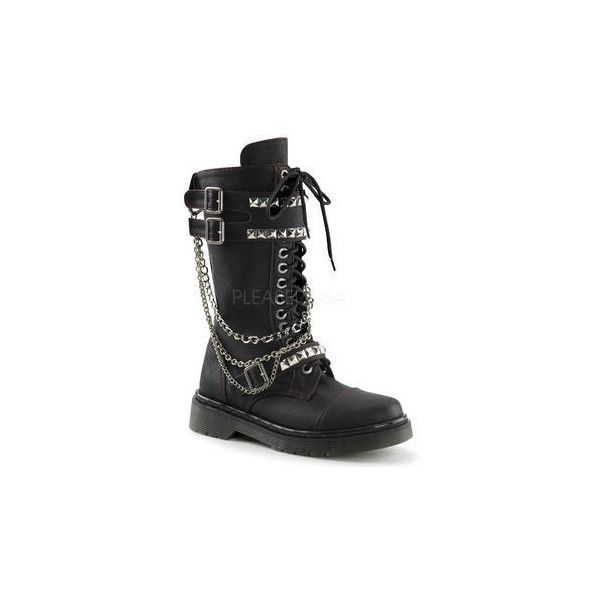 Demonia RAGE-315 Women's Goth Punk Chained Studded Black Faux Leather... ($97) ❤ liked on Polyvore featuring shoes, boots, black army boots, studded combat boots, studded boots, black military boots and mid-calf boots
