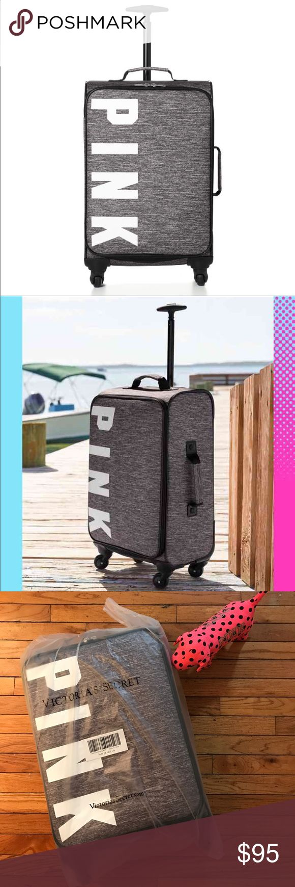 """VS PINK Wheelie Carry on luggage Marled Grey Brand new Victoria's Secret PINK Wheelie in Gray Marl.   22¾""""H x 13½""""W x 7½""""D  Imported polyester  No pocket and inside straps.          Check Out My Closet PINK Victoria's Secret Bags Travel Bags"""