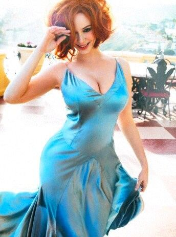 Blue Dress ~ Christina Hendricks Love the jacket but the hair. I just don't get it.▲▲$129.9   www.lvbags-pick.com