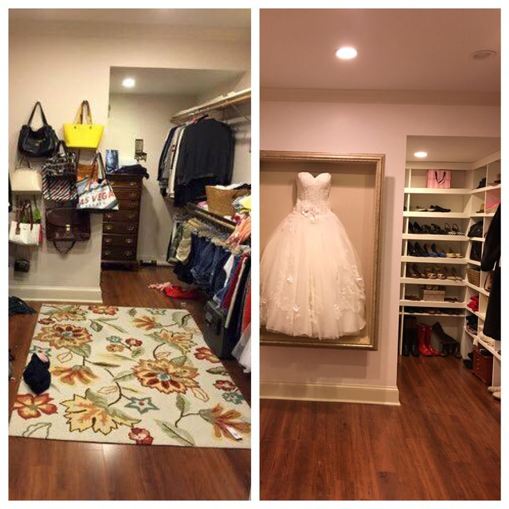My closet makeover!!! Waiting on plexiglass to complete wedding dress shadow box.