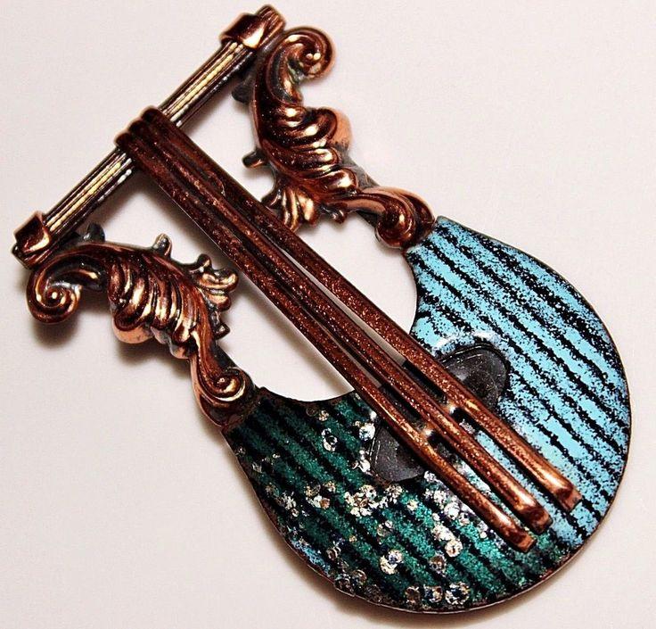 Vintage MATISSE Teal Green Speckled Copper Enamel LYRE Instrument Brooch, Music #Matisse
