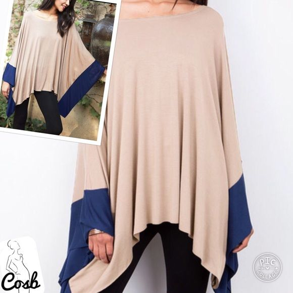 Coming...Color Block Tan & Blue Batwing Top Color block Tan & Blue Loose Fitting Top. Top is solid tan with blue color block @ the end of batwing sleeves. Cute & Comfy. Have Small, Medium & Large. Cosb Tops Tunics