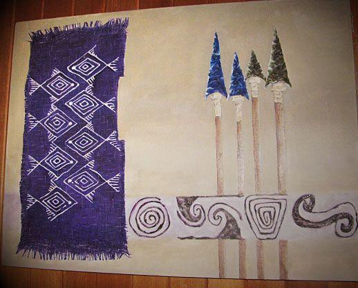 Caza y pesca. Pintura al  óleo en tela.