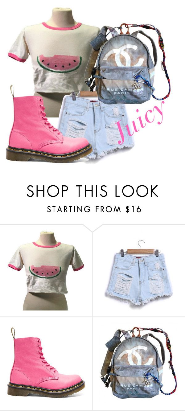 Watermelon Top casual summers by arianakeiser on Polyvore featuring Dr. Martens and Chanel #Womensfashion #Festivaloutfits #Dr.Martens #RitzandRiot #Boho #hippie