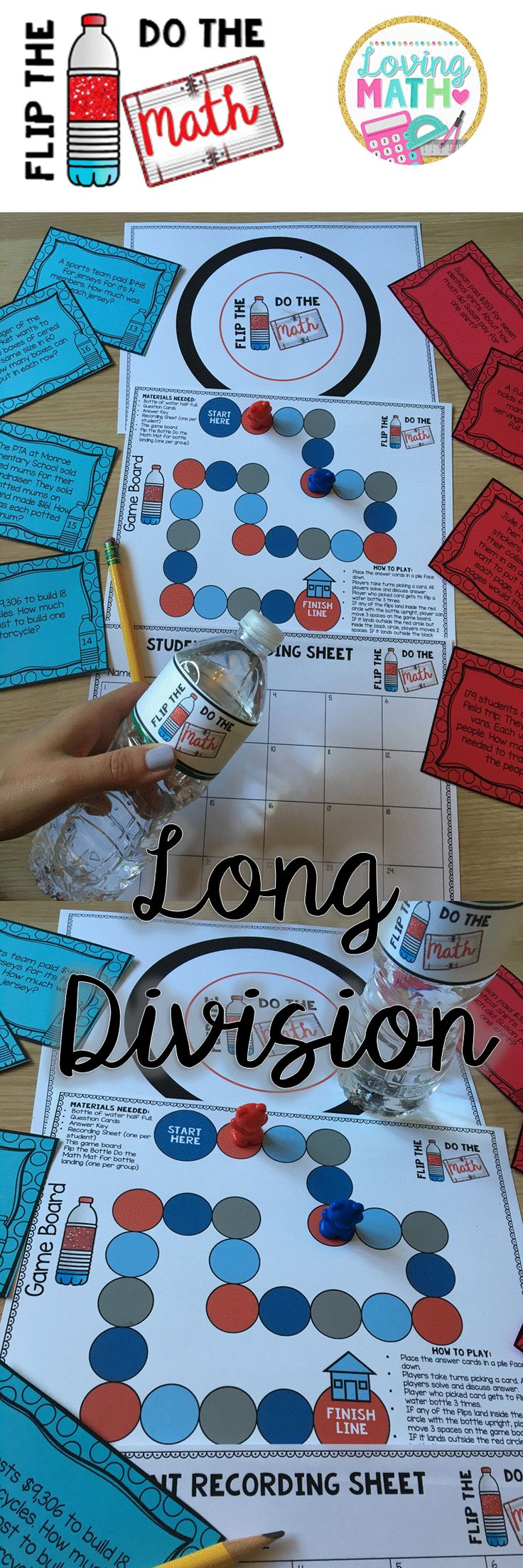 Long Division with 1 and 2 digit divisors: This Flip the Bottle Do the Math game is a great way to engage your kids, especially your boys and get them excited about long division!