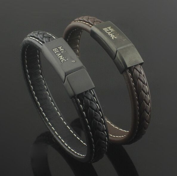 Men jewelry Mont Blanc leather bracelet http://jewellery-depo.com
