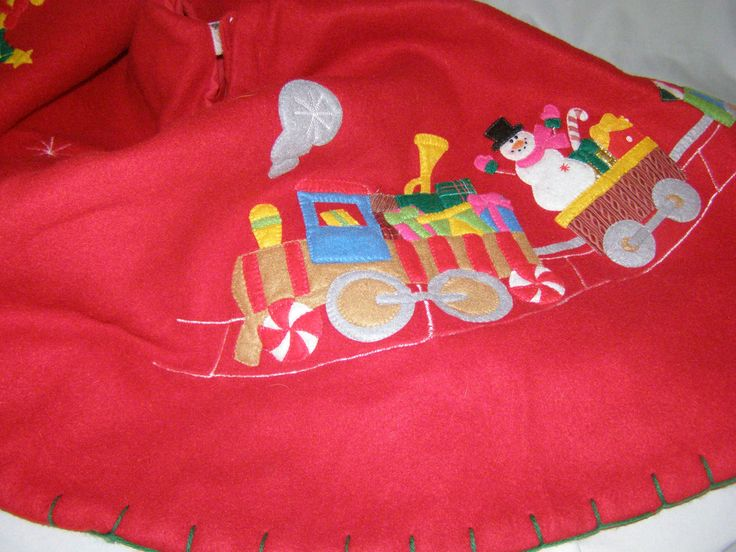 Vintage Christmas Train Tree Skirt Appliqued and Embriodered on Red Fleece by parkie2 on Etsy
