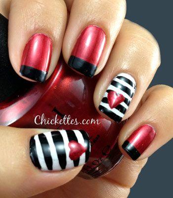 Chickettes.com: Love Affair Nail ArtHeart Nails, Nails Art, Nails Design, Black White, Red Nails, Valentine Nails, Valentine Day Nails, Affairs Nails, Red Black