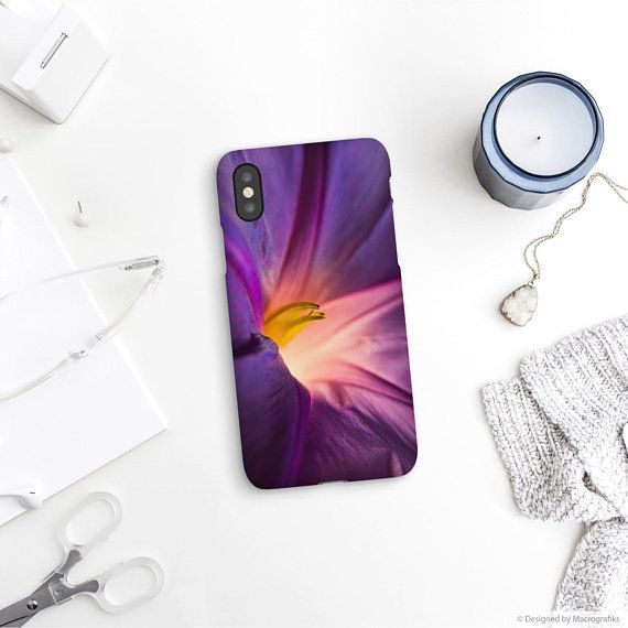 Purple flower phone case for iPhone X, iPhone 8, iPhone 7, Samsung S9, Galaxy A5 2017, Google pixel 2, Galaxy Note, Bindweed flower. MG013